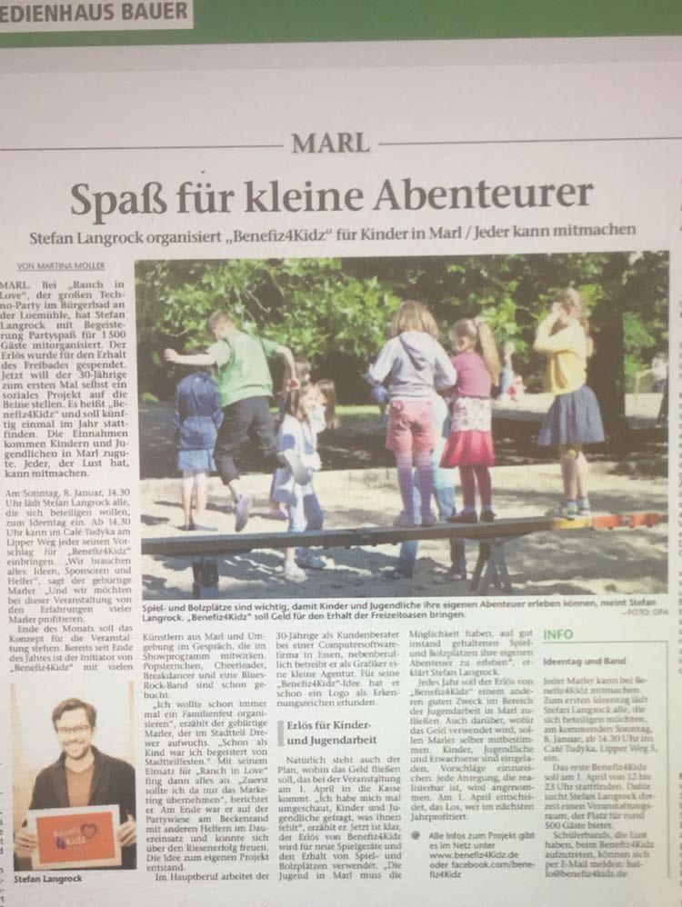 Artikel Marler Zeitung Benefiz4Kidz